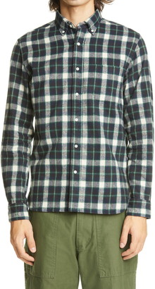 Beams Shaggy Check Flannel Button-Down Shirt