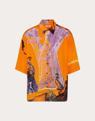 Valentino Yellow City Silk Shirt Man Multicolored Silk 100% L