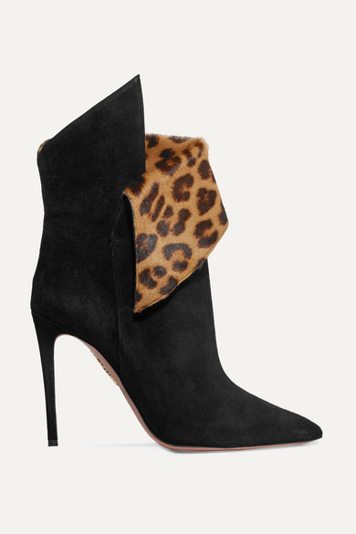 Aquazzura Night Fever 105 Calf Hair-trimmed Suede Ankle Boots - Black