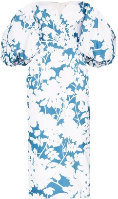 Rasario Off-The-Shoulder Floral Print Midi Dress