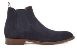 HUGO BOSS Calf-suede Chelsea boots with monogram-print gusset
