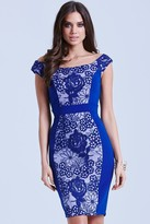 Little Mistress Blue Floral Overlay Bodycon Dress