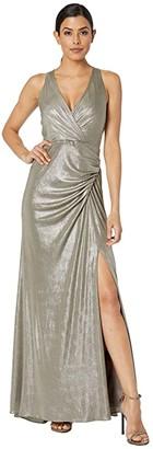 Adrianna Papell Metallic Jersey Dress (Mink) Women's Dress