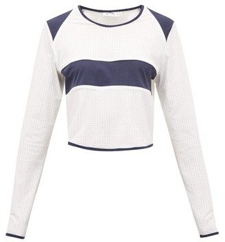 The Upside Hamilton Perforated Cropped Top - Womens - White Multi