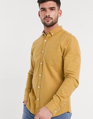 New Look long sleeve organic cotton oxford shirt in mustard