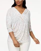 Calvin Klein Plus Size Pleated Hardware-Detail Top
