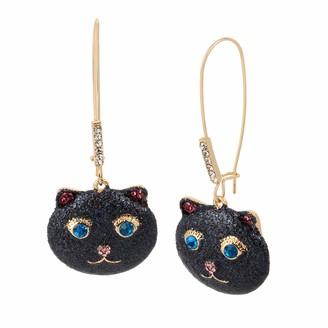 Betsey Johnson Glitter Cat Long Drop Earrings 321987GLD001