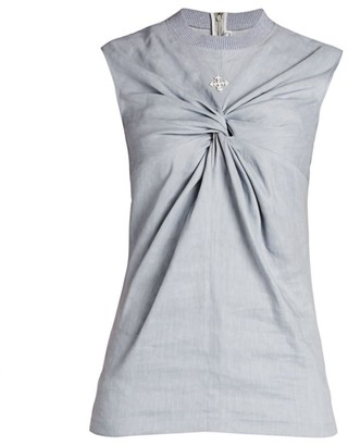 Off-White Sleeveless Knotted Linen-Blend Top