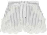 Sacai Lace-trimmed Striped Shell Shorts - Off-white