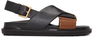 Marni Black and Brown Criss-Cross Fussbett Sandals