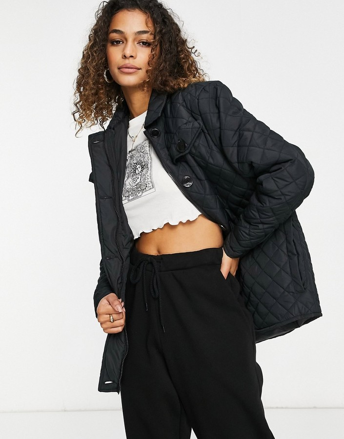 Thumbnail for your product : Brave Soul perkins diamond quilted oversized shirt style coat in black