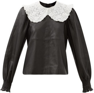 Sea Loretta Broderie-anglaise Collar Leather Blouse - Black