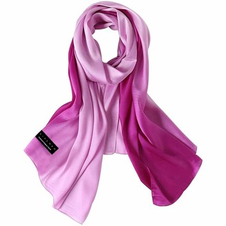 Livloko Satin Scarf for Women Large 180x90 Elegant Silk Designer Thick Premium Quality Soft Lightweight Neck Scarf Head Scarf Shawls Wraps Womens Gifts for Her (D. Gradient Pink Rose)
