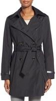 Via Spiga Women's Faux Leather Trim Trench Coat