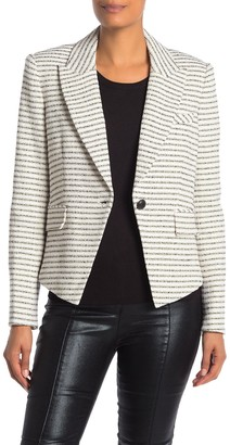 Veronica Beard Hossana Striped Tweed Peak Lapel Dickey Blazer