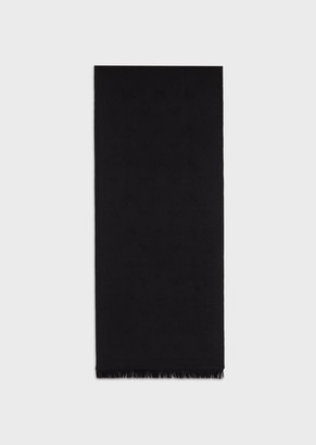 Emporio Armani Wool Scarf With All-Over Jacquard Logo