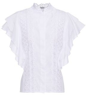 Charo Ruiz Ibiza Saida Crocheted Lace-paneled Ruffled Cotton-blend Voile Top
