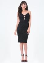 Bebe Lace Strap Trim Midi Dress