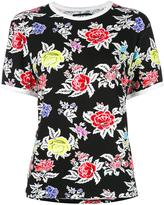 House of Holland roses pattern Shrunken T-shirt - women - Spandex/Elastane/Viscose - 6