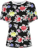 House of Holland roses pattern Shrunken T-shirt - women - Viscose/Spandex/Elastane - 6