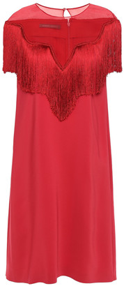 Alberta Ferretti Fringed Organza-paneled Crepe Mini Dress