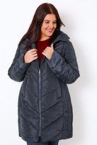 Yours Clothing Navy Longline Quilted Puffer Jacket With Invisible Hood