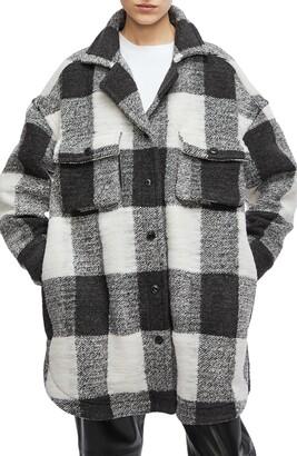 Anine Bing Mave Check Wool Blend Jacket