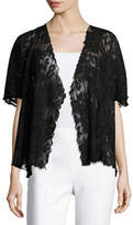 Caroline Rose Short-Sleeve Pleated Lace Crop Cardigan, Black