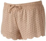 Mudd Juniors' Faux-Suede Scalloped Shortie Shorts
