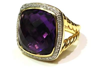 David Yurman Albion 18K Yellow Gold With Amethyst & Diamonds Ring Size 7.5