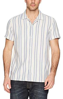 Calvin Klein Jeans Men's Short Sleeve Button Down Shirt Loose Twill Stripe
