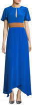 Diane von Furstenberg Flutter-Sleeve Split-Front Silk Evening Gown