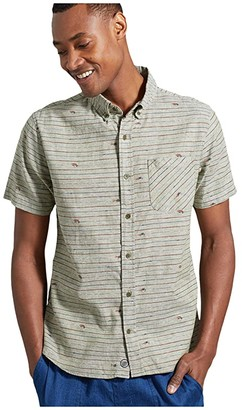 United By Blue All Daytm Chambray Short Sleeve Button-Down (Olive) Men's Clothing