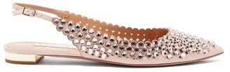 Aquazzura Tequila Crystal-embellished Slingback Suede Flats - Light Pink