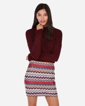 Express High Waisted Chevron Knit Mini Skirt