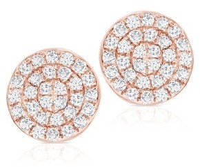 Diamond Round Pave Disc Studs Earrings 14k Gold 1/5 ct. TDW by Joelle Collection