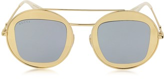 Gucci GG0105S Metal Round Aviator Women's Sunglasses