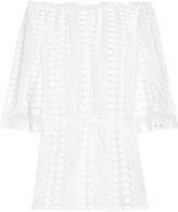 Miguelina Tabitha off-the-shoulder crochet-paneled cotton-voile dress