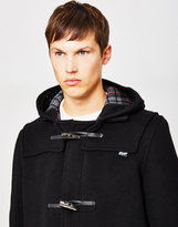 Gloverall Mid Length Check Duffle Coat Black