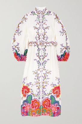 Zimmermann The Lovestruck Belted Paisley-print Linen Midi Dress - White