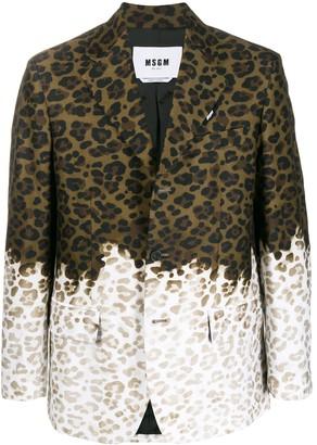 MSGM Gradient Leopard-Print Blazer