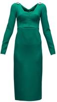 Dolce & Gabbana Brooch-embellished Wool-blend Crepe Dress - Womens - Green