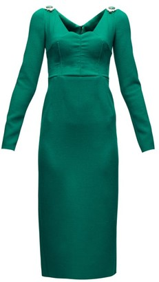 Dolce & Gabbana Brooch-embellished Wool-blend Crepe Dress - Womens - Green
