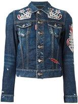 DSQUARED2 anchor patch denim jacket - women - Cotton/Spandex/Elastane - 38