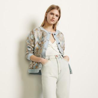 Sandro Brocade jacket with denim inserts