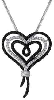 Knots Of Love Knots of Love Sterling Silver Black and White 1/2 Carat T.W. Diamond Heart Pendant, 18""