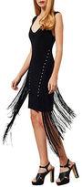 Miss Selfridge Fringed Eyelet Bodycon V-Back Dress