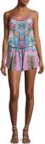 Camilla Shoestring-Strap Embellished Silk Playsuit