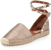 Valentino Garavani Rockstud Leather Ankle-Wrap Espadrille, Skin