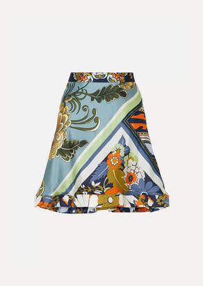 Chloé Asymmetric Ruffled Printed Silk-twill Skirt - Blue